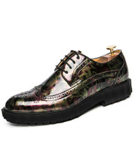 Yellow camo patent leather derby brogue dress shoe 01