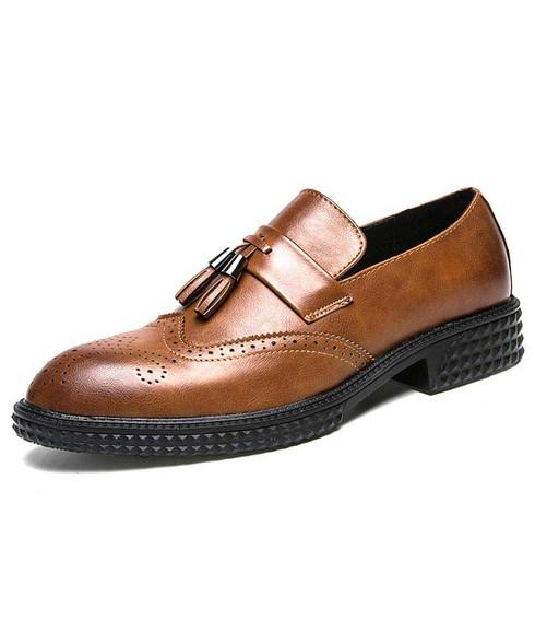 Brown retro brogue tassel slip on dress shoe 01