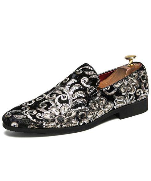 Black full floral pattern leather slip on dress shoe 01