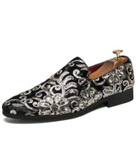 Black full floral pattern leather slip on dress shoe 01