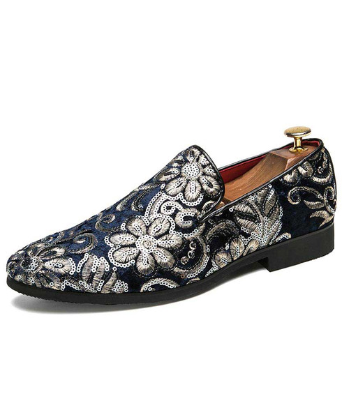Navy full floral pattern leather slip on dress shoe 01