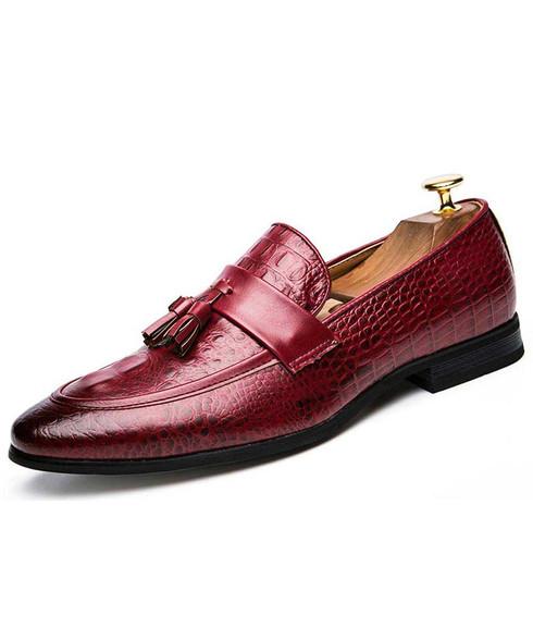 Red crocodile skin pattern tassel slip on dress shoe 01
