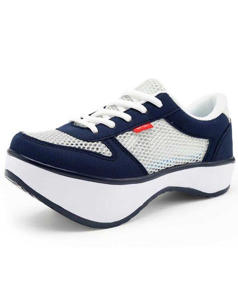 Silver hollow out negative heel rocker bottom shoe sneaker 01