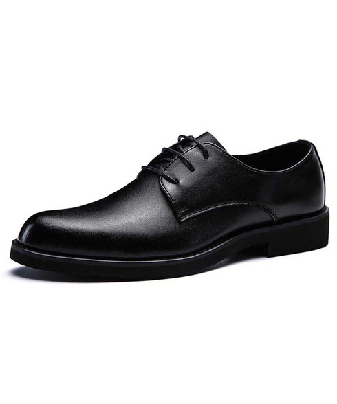 Black derby dress shoe in plain 01