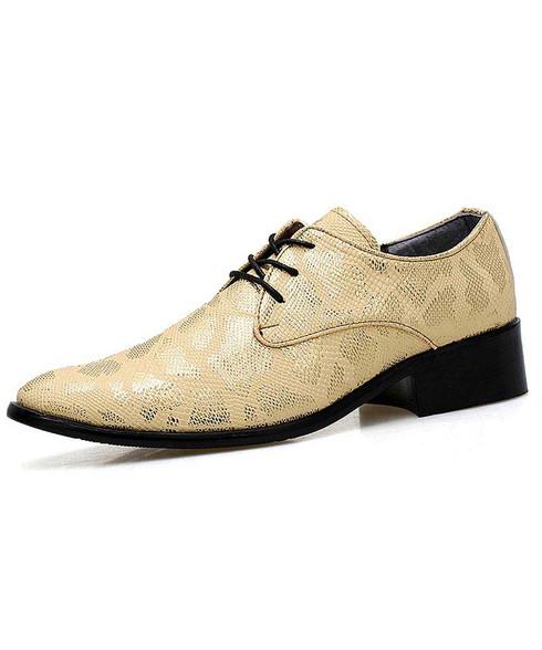 Golden snake skin pattern derby dress shoe 01