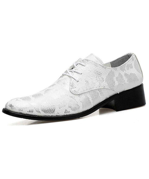 Silver snake skin pattern derby dress shoe 01