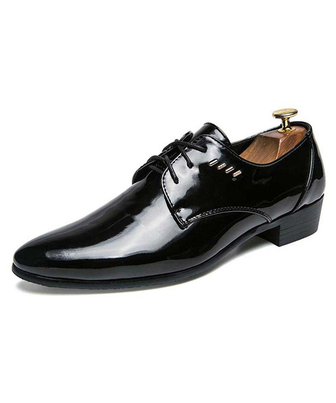 Black patent derby dress shoe metal decorated 01