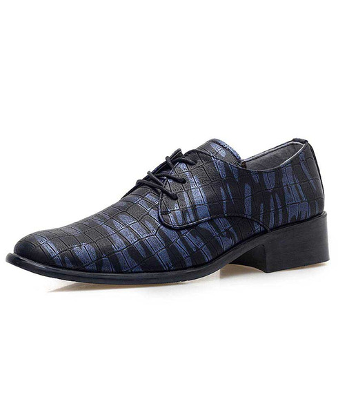 Blue camouflage check pattern derby dress shoe 01