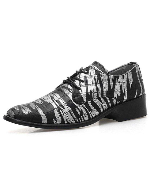 Silver camouflage check pattern derby dress shoe 01