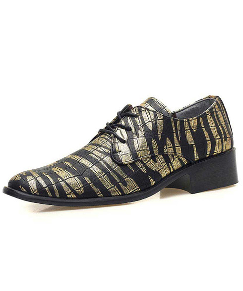 Golden camouflage check pattern derby dress shoe 01