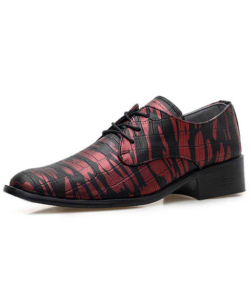 Red camouflage check pattern derby dress shoe 01
