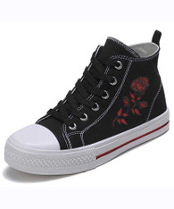 Black canvas floral print lace up sneaker boot 01
