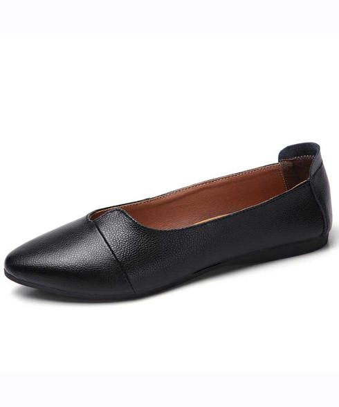Black low cut point toe slip on shoe flat in plain 01