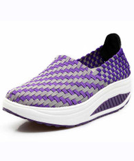 Purple weave stripe slip on rocker bottom shoe sneaker 01