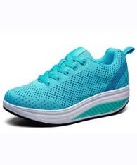 Blue plain hollow flyknit rocker bottom shoe sneaker 01