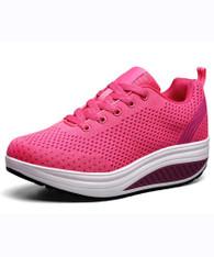 Pink plain hollow flyknit rocker bottom shoe sneaker 01