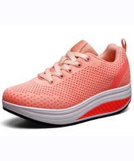 Orange plain hollow flyknit rocker bottom shoe sneaker 01