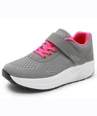 Grey flyknit lace velcro rocker bottom shoe sneaker 01