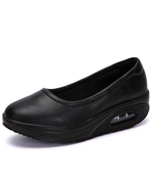 Black low cut plain slip on rocker bottom shoe sneaker 01