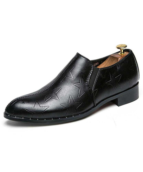 Black star pattern leather slip on dress shoe 01