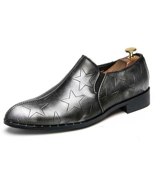 Grey star pattern leather slip on dress shoe 01