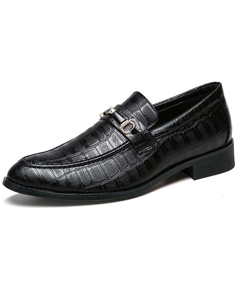Black buckle croco pattern slip on dress shoe 01