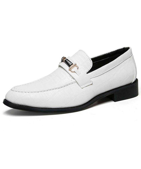 White buckle croco pattern slip on dress shoe 01