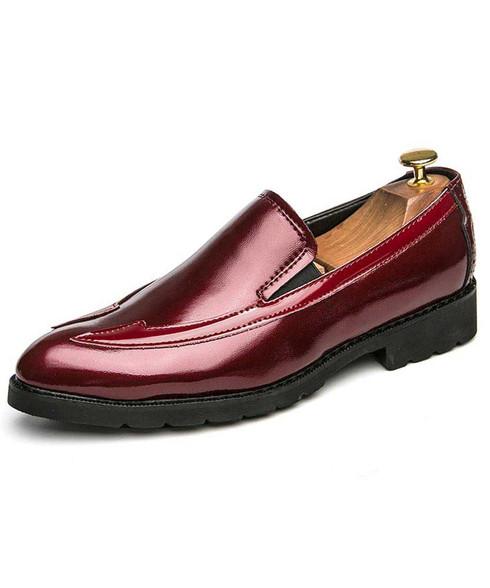 Red point toe slip on dress shoe 01