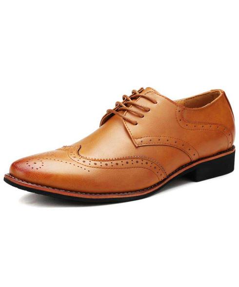 Brown retro brogue leather derby dress shoe 01