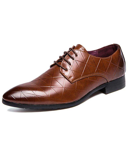 Brown triangle pattern leather derby dress shoe 01