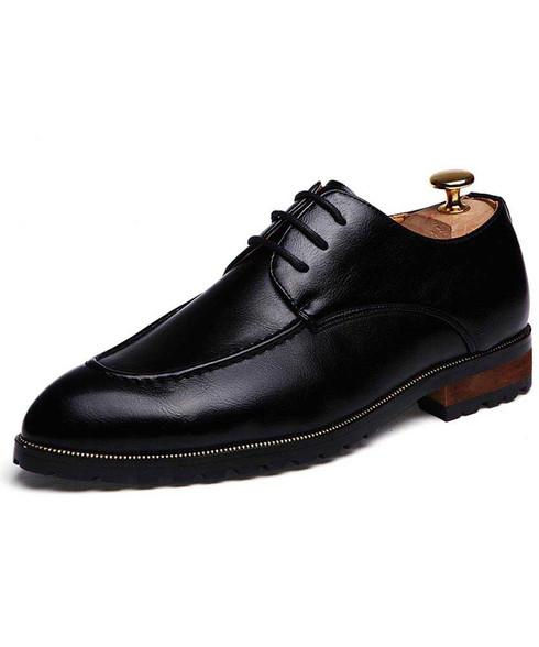 Black retro point toe leather derby dress shoe 01