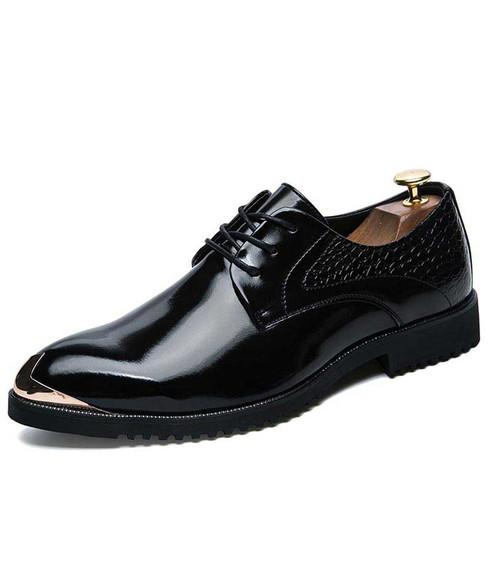 Black croco skin pattern metal toe derby dress shoe 01