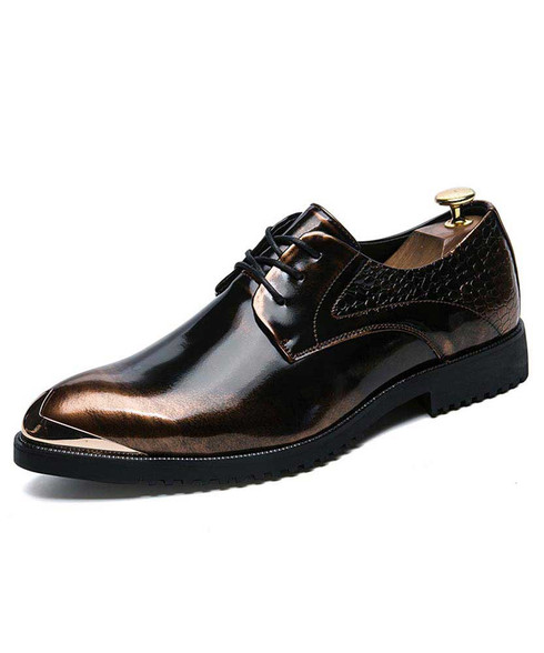 Golden croco skin pattern metal toe derby dress shoe 01