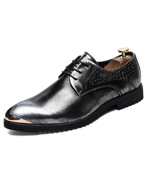 Silver croco skin pattern metal toe derby dress shoe 01