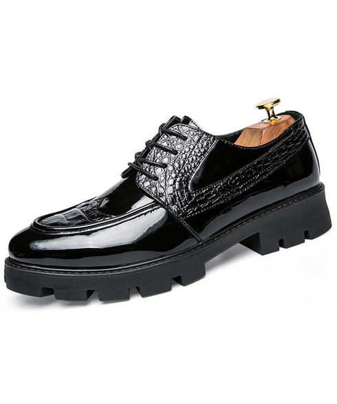 Black croco skin patent leather derby dress shoe 01