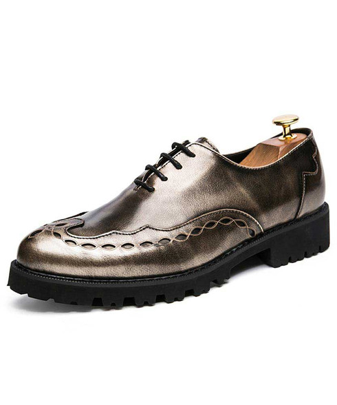 Golden retro circle pattern oxford dress shoe 01