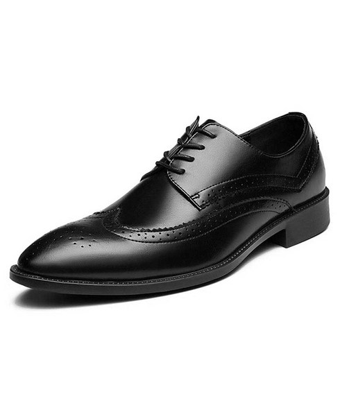 Black leather brogue derby dress shoe point toe 01