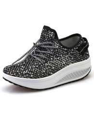 Black flyknit hollow out lace rocker bottom shoe sneaker 01