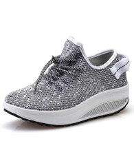 Grey flyknit hollow out lace rocker bottom shoe sneaker 01