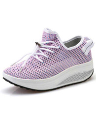 Pink flyknit hollow out lace rocker bottom shoe sneaker 01
