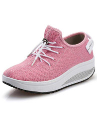 Pink flyknit texture pattern rocker bottom shoe sneaker 01