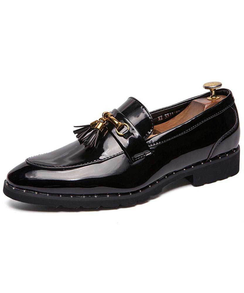 f123f4830b Black patent leather tassel buckle slip on dress shoe 01
