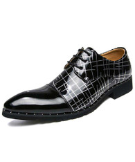 Black white cross stripe patent derby dress shoe 01