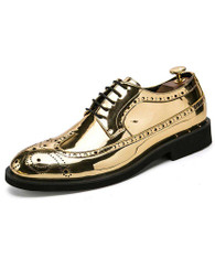 Golden brogue patent leather derby dress shoe 01