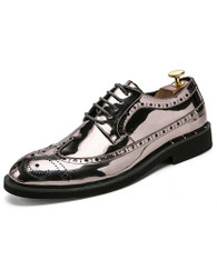 Silver brogue patent leather derby dress shoe 01