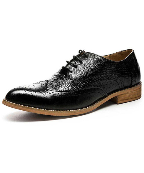 Black croco pattern brogue leather oxford dress shoe 01