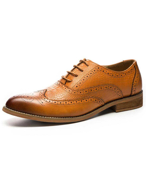 Brown croco pattern brogue leather oxford dress shoe 01