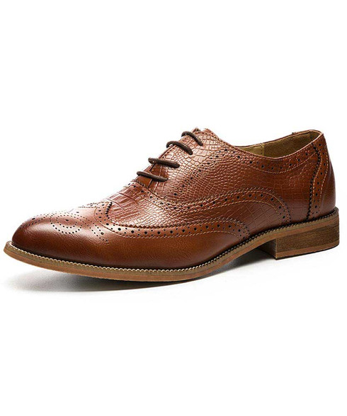 Red brown croco brogue leather oxford dress shoe 01