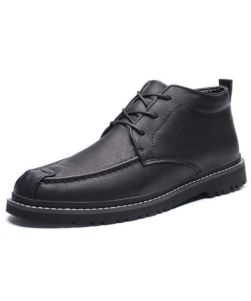 Black classic retro leather derby dress shoe 01