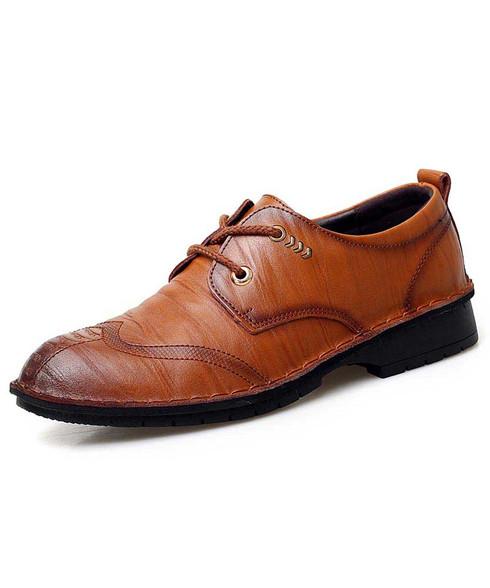 Brown retro texture leather derby dress shoe 01